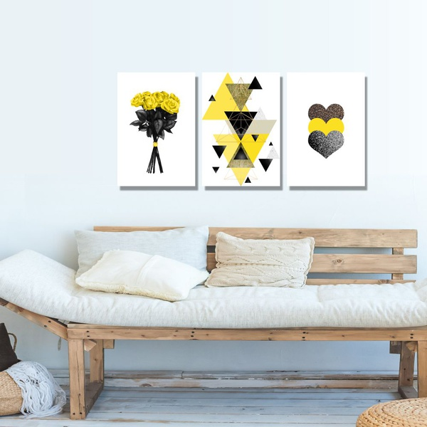 Kit 3 Placas Decorativas Flor Coração Geométrico Amarelo