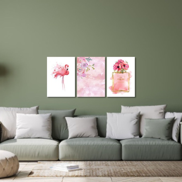 Kit Quadros Decorativos Flamingo Perfume