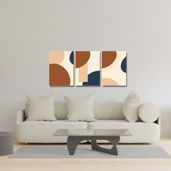 Kit 3 Placas Decorativas Abstrato Terracota