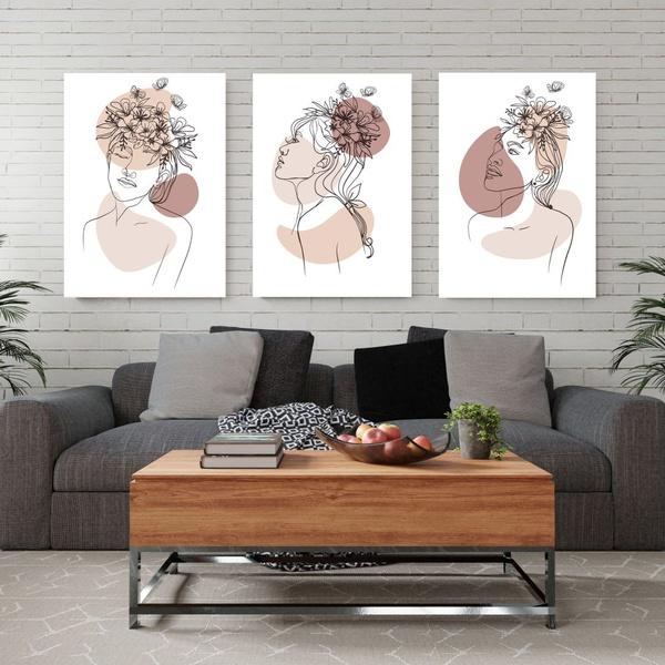 Kit 3 Placas Decorativas Mulheres Abstrato