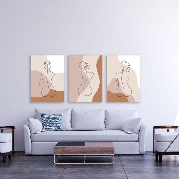 Kit 3 Placas Decorativas Mulheres Abstratos