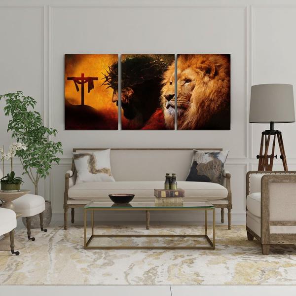 Kit Quadros Decorativos Leão de Judá Cristo