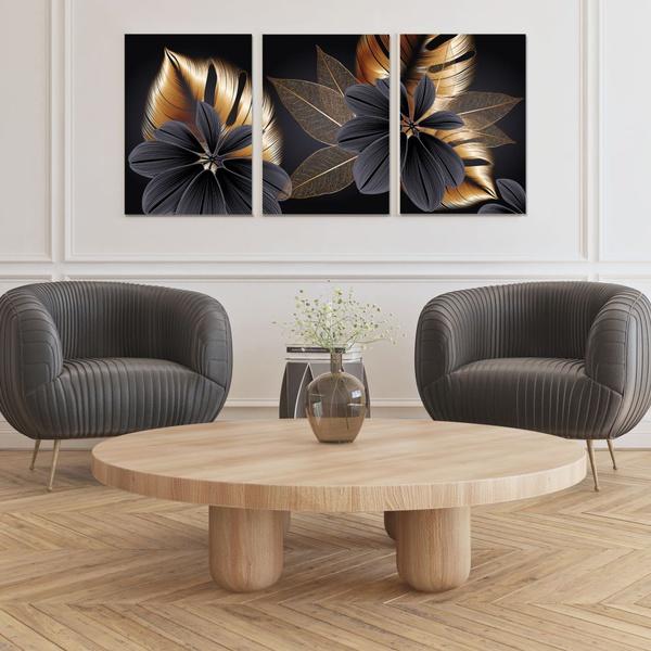 Kit Quadros Decorativos Folhas Dividas Douradas