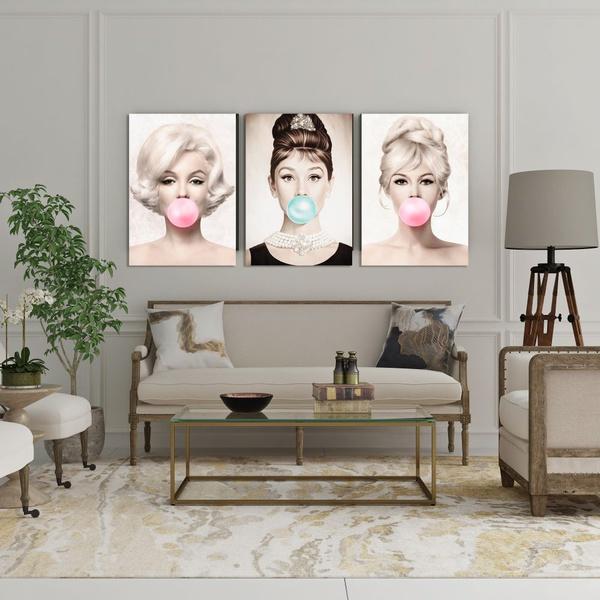 Kit Quadros Decorativos Marilyn Audrey e Brigitte