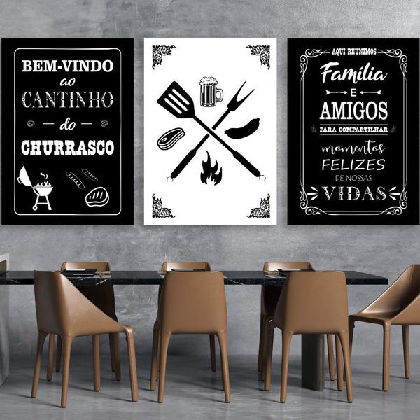 Kit 3 Placas Decorativas Churrasco