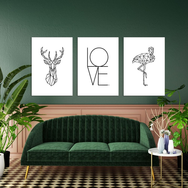 Kit Quadros Decorativos Animais Geométricos Love