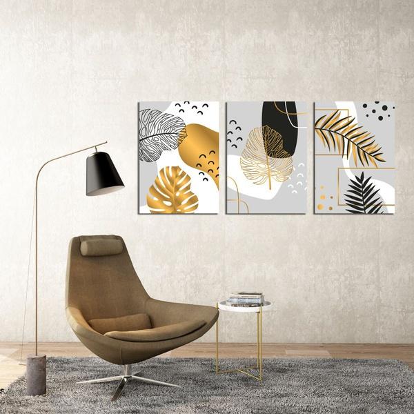 Kit 3 Placas Decorativas Folhas Cinza e Dourado