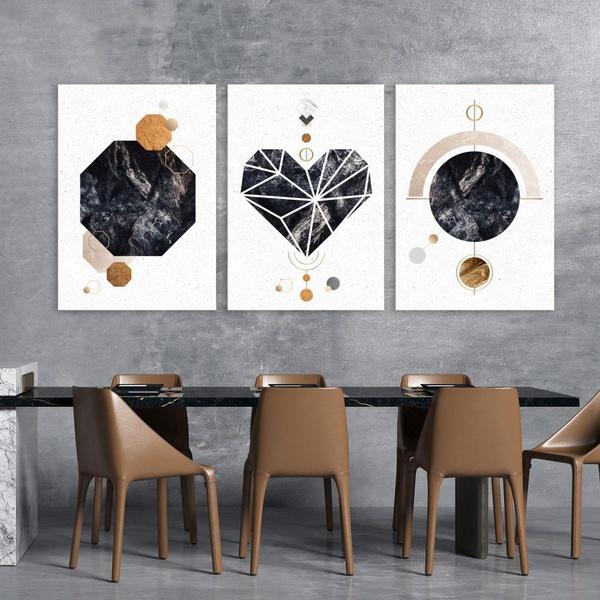 Kit 3 Placas Decorativas Coração Abstrato Pedra