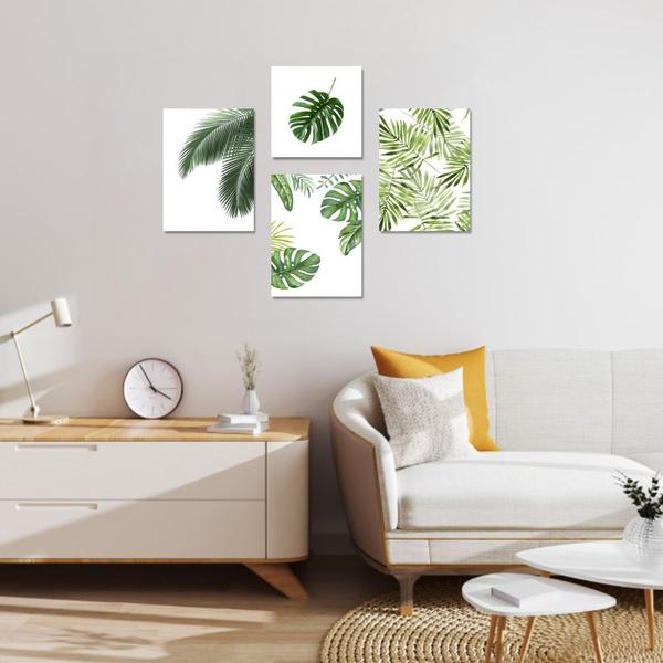 Kit 4 Placas Decorativas Folhas