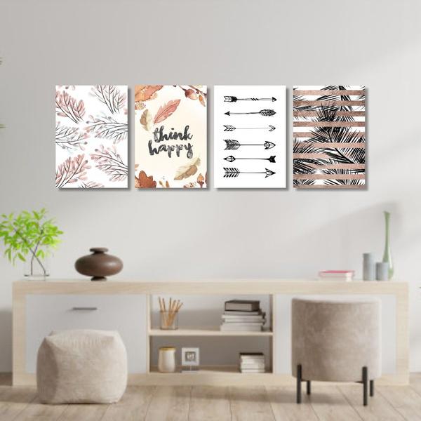 Kit 4 Placas Decorativas Think Happy