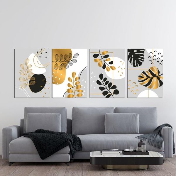 Kit 4 Placas Decorativas Folhas Douradas