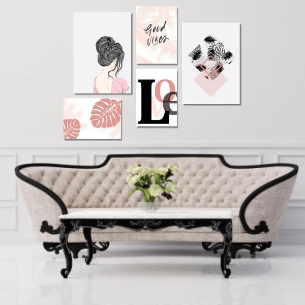 Kit 5 Quadros Decorativos Menina Love Folhas