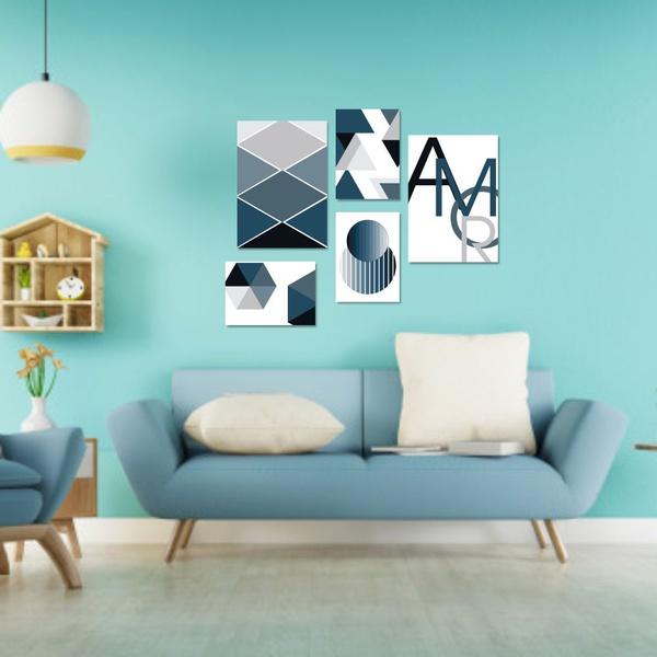 Kit Quadros Decorativos Amor Abstrato Geométrico