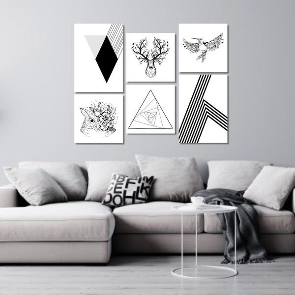 Kit Quadros Decorativos Animais Flores Geométricos