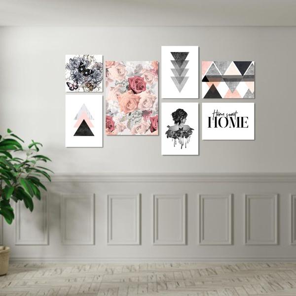 Kit Quadros Decorativos Geométricos Rosas