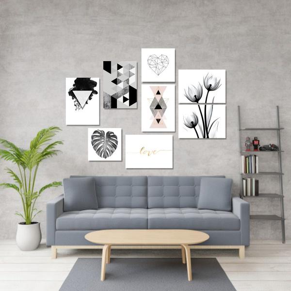 Kit 8 Placas Decorativas Nórdico Preto e Branco