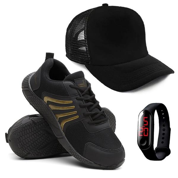Tênis Masculino Running Caminhada/Academia + Relógio + Boné - Dourado - Lorenzzo Lopez