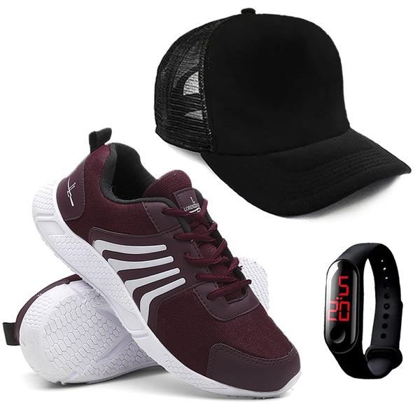 Tênis Masculino Running Caminhada/Academia + Relógio + Boné - Vermelho - Lorenzzo Lopez