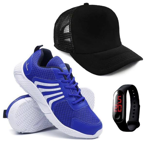 Tênis Masculino Running Caminhada/Academia + Relógio + Boné - Azul - Lorenzzo Lopez