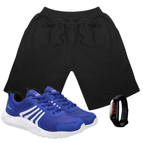 Kit Bermuda Masculina Moletom Preto + Tênis Masculino Running Azul+ Relógio Digital - Lorenzzo Lopez