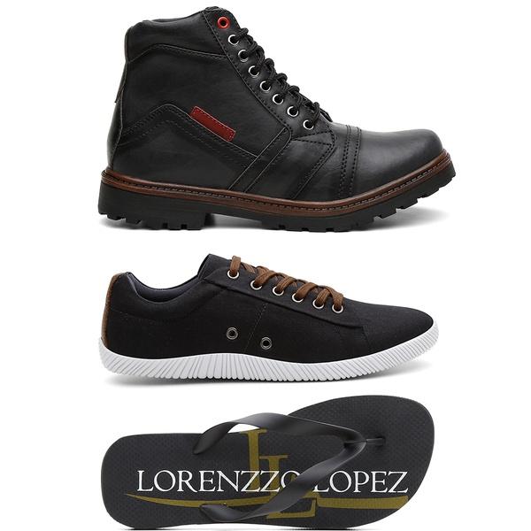 Kit Coturno + Sapatênis + Chinelo Masculino Lorenzzo Lopez