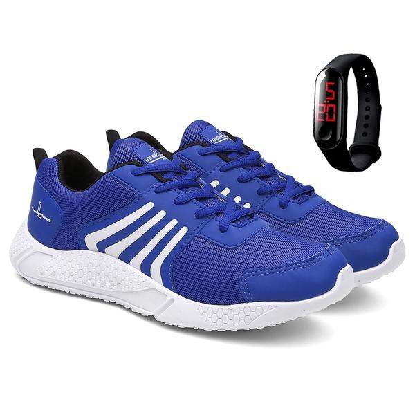 Tênis Masculino Running Caminhada/Academia + Relógio - Azul - Lorenzzo Lopez