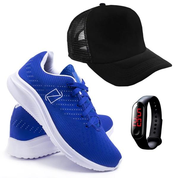 Tênis Masculino FAST Caminhada/Academia + Relógio + Boné - Azul - Lorenzzo Lopez