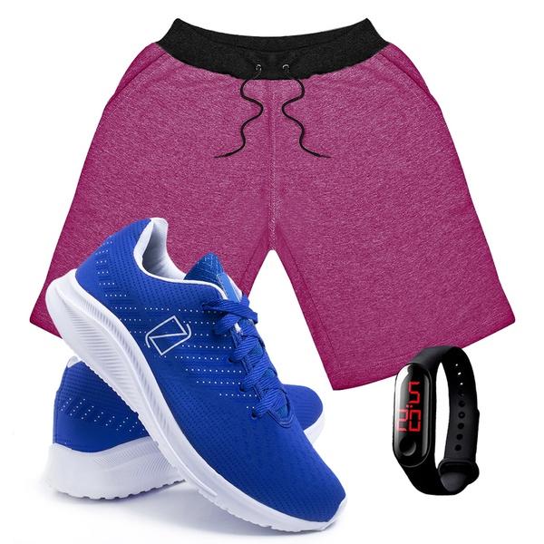 Kit Bermuda Moletom Masculina + Tenis Masculino Conforto + Relógio Digital [Rosa/Azul]