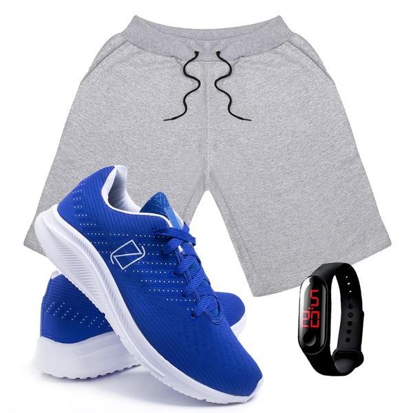 Kit Bermuda Moletom Masculina + Tenis Masculino Conforto + Relógio Digital [Cinza/Azul]