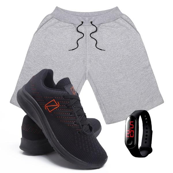 Kit Bermuda Moletom Masculina + Tenis Masculino Conforto + Relógio Digital [Cinza/PretoLaranja]
