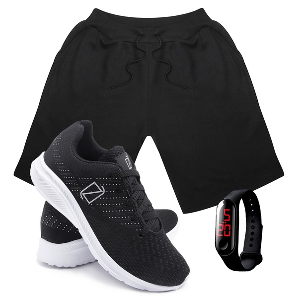 Kit Bermuda Moletom Masculina + Tenis Masculino Conforto + Relógio Digital [Preto/PretoBranco]