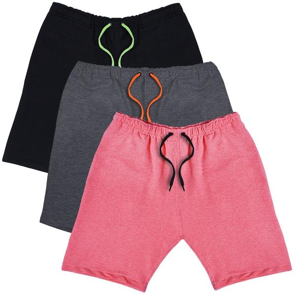 KIT 3 Bermudas Moletom Masculina Corrida Color Conforto - Preto/Grafite/Rosa