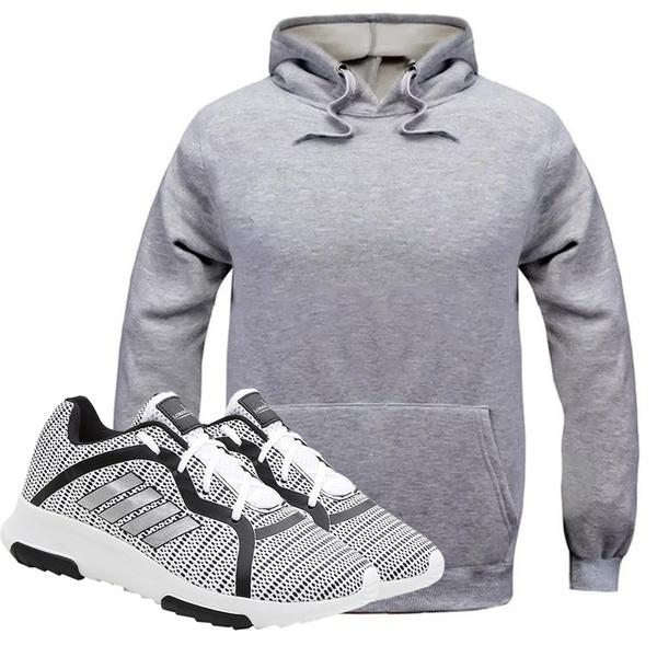 Kit Moletom Masculino Cinza + Tênis Masculino Sport Cinza - Lorenzzo Lopez