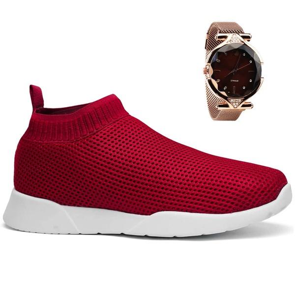 Tenis Feminino Meia Fácil Calce Conforto + Relógio - Vermelho