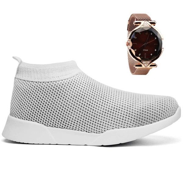 Tenis Feminino Meia Fácil Calce Conforto + Relógio - Branco