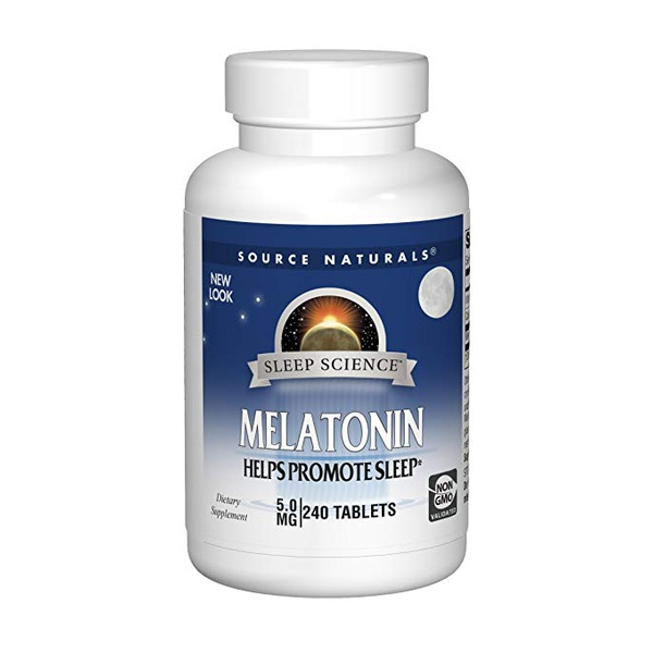 Melatonina, Source Naturals, 5mg, 200 pastilhas