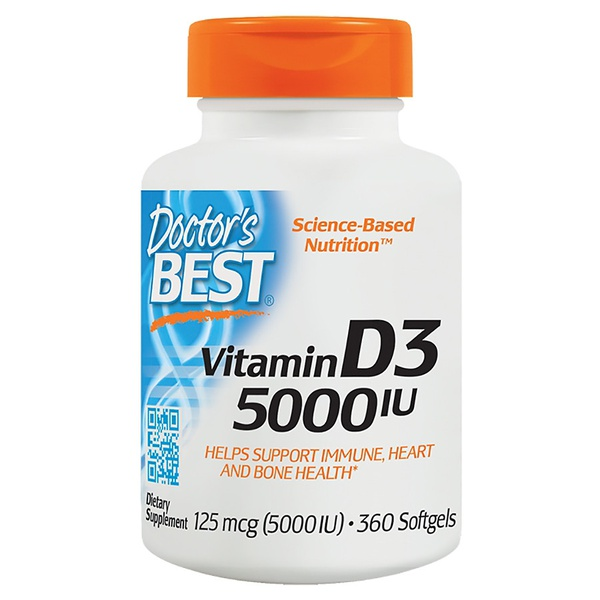 Vitamina D3 - 5.000 IU - Doctor`s Best - 360 softgels