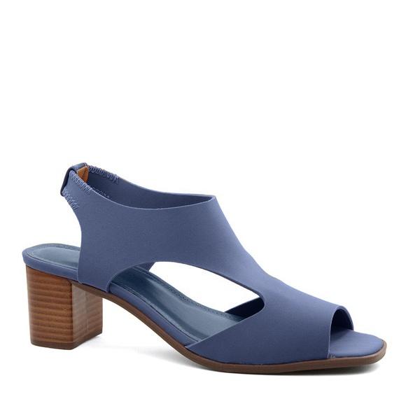 Sandália Salto Bloco Neoprene Azul Denin