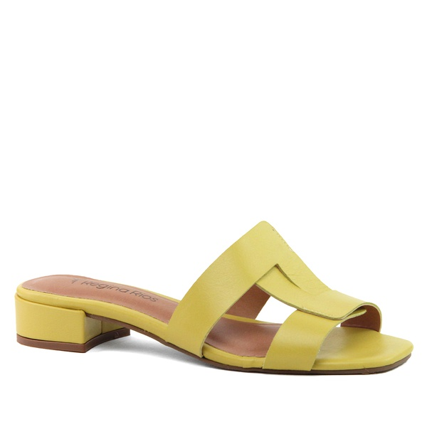 Sandália Mule Baixa Couro Amarelo
