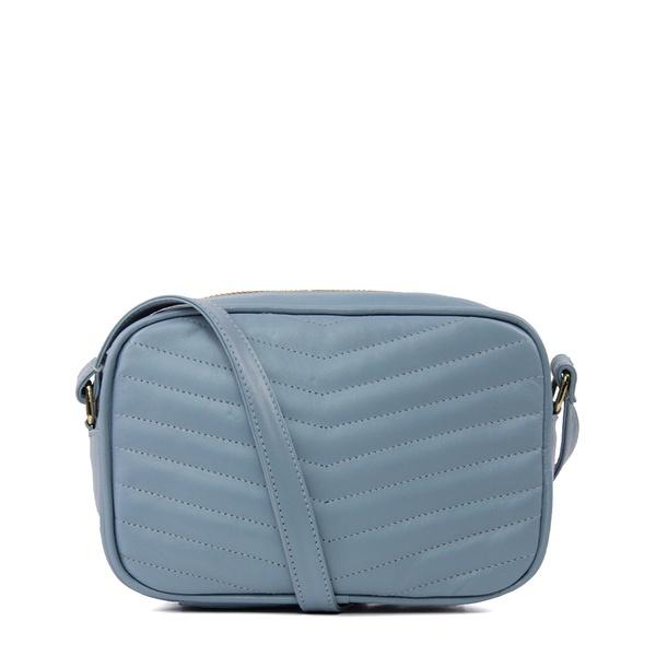 Bolsa Tiracolo Couro Matelassê Azul Claro