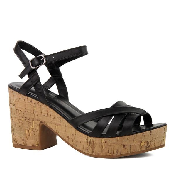 Sandália Plataforma Tiras Couro Preta