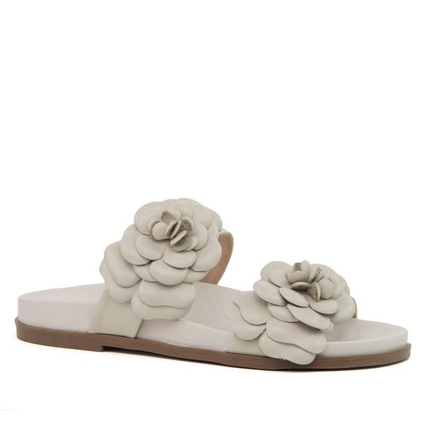 Sandália Papete Couro Flor Off White