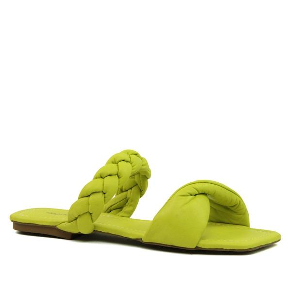 Sandália Rasteira Puff Couro Amarelo Limão