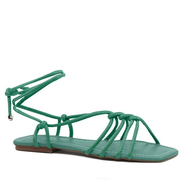 Sandália Rasteira Couro Tirinhas Trançadas Verde