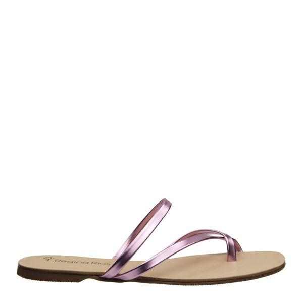 Sandália Metalizada Tiras Rose