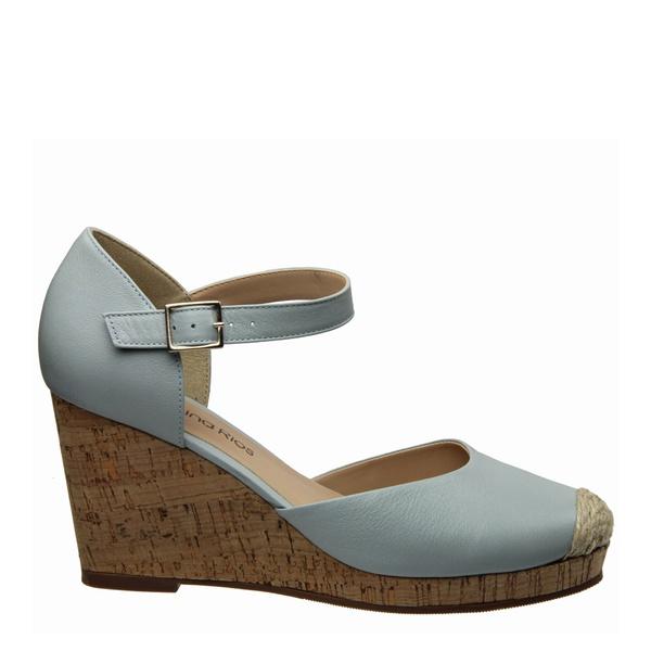 Sandália Plataforma Couro Azul