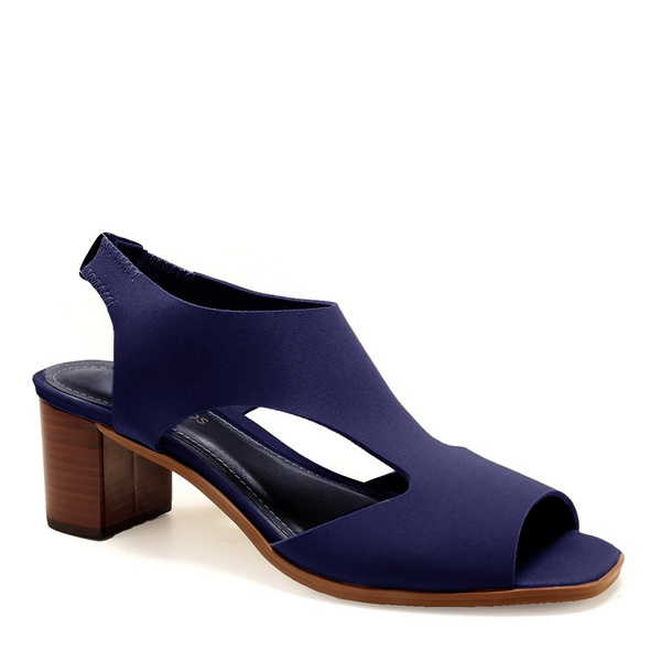 Sandália Salto Bloco Neoprene Azul Royal