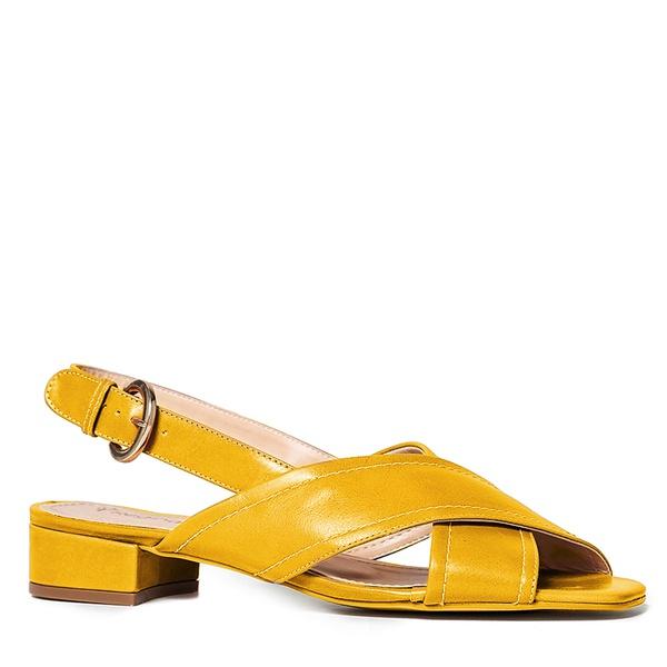 Sandália Xis Couro Amarelo