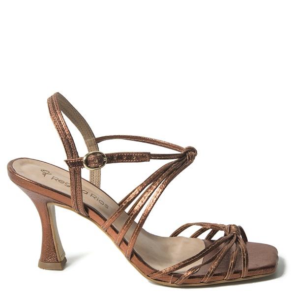 Sandália Alta Metalizada Marrom