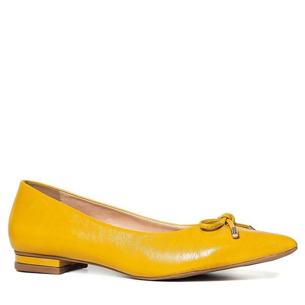Sapatilha Laço Couro Amarelo